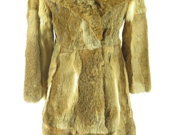 Vintage 80s Rabbit Fur Overcoat Long Coat Womens S [H33K_4-13_Fur]