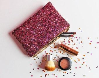 Dark Pink Glitter Makeup Bag, Maroon Mini Clutch Bag, Pink Cosmetic Bag,