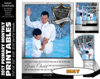 PRINTABLES Bundle Primary May 2017 Monthly Theme Baptism Poster Bookmarks Handouts Bulletin Board Sharing Time CTR Choose The Right Agency