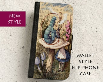 iPhone Case (all models) - Alice in Wonderland - Caterpillar - wallet flip case -  Samsung Galaxy S4,S5,S6,S7Edge,S8,S8Plus & more