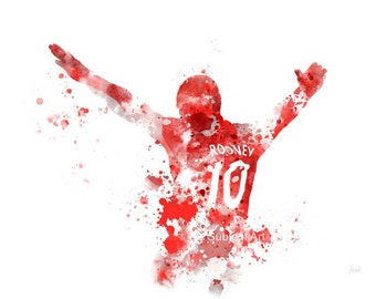 Wayne Rooney ART PRINT illustration, Manchester United, Football, Mixed Media, Home Decor, Red Devil