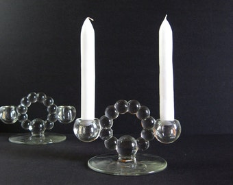 2 Glass Candelabra - Vintage Glass Candleholders - Double Candlesticks - Imperial Candlewick Glass - Hughes Cornflower - Dinner Table Decor