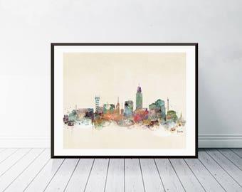 lincoln nebraska . lincoln city skyline. lincoln cityscape. colorful watercolor skyline.Giclee art print.color your world with bri.