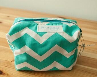 Teal Chevron boxy zip bag-Large