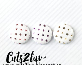 """3 Badges 1"""" Étoiles métalliques rose, violet, doré"""