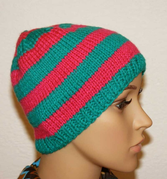 Knitting PATTERN Knit Striped Beanie Pattern PDF Knit Hats