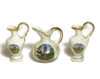 Vintage Miniature Souvenir Pitcher Porcelain Mini Singing Tower Lake Wales Florida Ambassador Bridge Windsor Ontario Landmarks Doll House