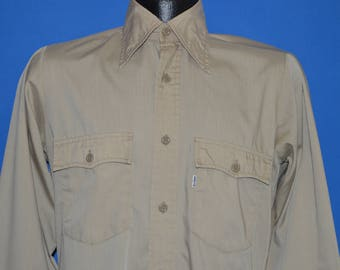 80s Levis Khaki Button Down Work Shirt Small