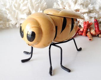 Vintage bee honeypot container bumblebee insect figurine display wasp hornet storage jewelry box mini planter