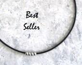 Minimalist Leather Choker, Minimalist Jewelry, Women's Leather Choker Necklace, Modern Layering Jewelry, Stainless Steel Beads