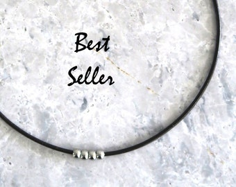 Leather Choker Necklace, Simple Necklace, Minimalist Jewelry, Modern Layering Jewelry, Stainless Steel Beads