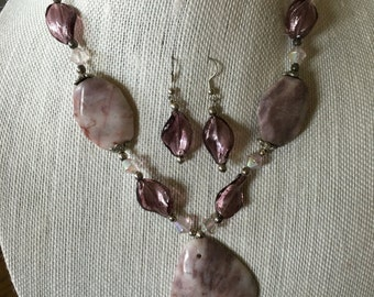 Handmade bead necklace and matching earrings-pinks, purples, clear beads