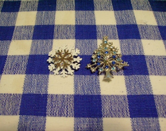 Christmas Tree and Snowflake Pin Set