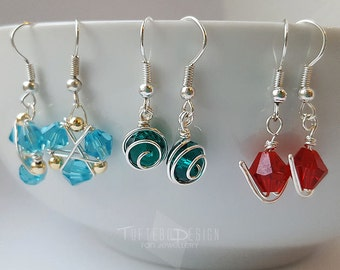 legend of zelda ocarina of time spiritual stone earring set, kokiri emerald goron ruby zora sapphire earrings, zelda earring combo, spirit