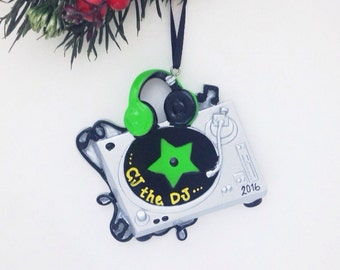FREE SHIPPING DJ Turntable Christmas Ornament / Personalized Ornament / Gift for Music Lover