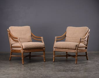 Pair of McGuire Lounge Chairs Rattan Bamboo Boho Chic