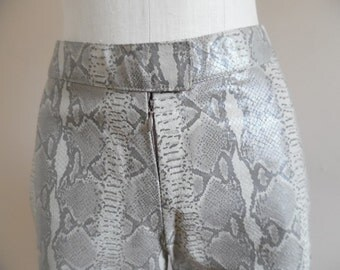 Vintage Early 1990s Ladies RARE Reptile PrintedTaupe and Creme Leather Pants by Z Jazz