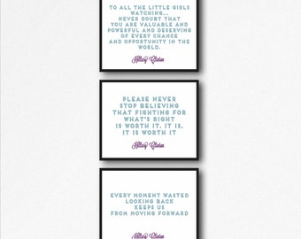 Set of 3 Unframed Hillary Clinton Quotes