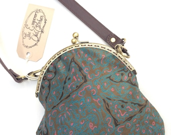 """Vintage print cotton handbag """"On The Sea Bed"""" crossbody leather strap shoulder purse bag cute small by The Emperor's Old Clothes"""