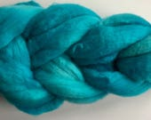 Hand dyed organic Polwarth wool top,  handpainted roving/top, handprinted wool fiber for spinning, 4 oz