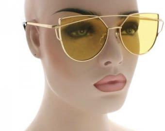 Retro Cat Eyed Colored Lens Sunglasses, Shades, Frames
