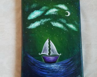 Sail Away' 5 by 7 inch acrylic painting
