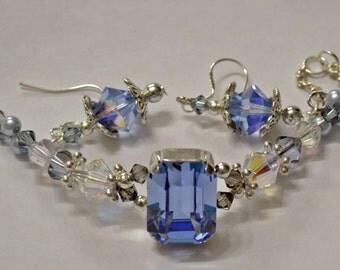 Made with  Swarovski Huge 18x13mm Light Sapphire Sewon Rhinestone Beaded Bracelet & Matching Earrings Set