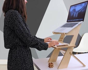 Laptop desk, Birch, Standing desk, Macbook, Laptop stand