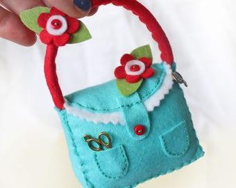 Felt Pin Cushion, Blue Handbag Pincushion with Red Felt Flowers, Dressmaker Gift Sewing Supply, Craft Gift