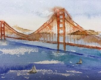 Bay Bridge-ORIGINAL Watercolor Painting-Oakland Bay Bridge-San Francisco-5x7