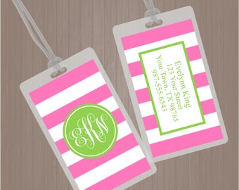 Monogram Luggage Tag, Pink and Green Luggage Tag, Stripes Luggage Tag, Girl Diaper Bag Tag, Laminated Bag Tag, Personalized Bag Tag