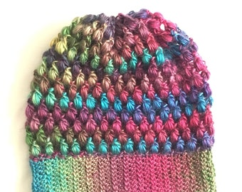 Stained Glass Colored Puff Stitch Beanie