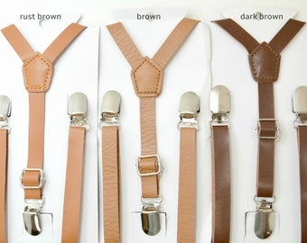 Suspenders 1/2 '' inch Vintage Style Cottage Chic Brown / Dark Brown / Rust Brown PU Leather Suspenders Y-Back Kids Boys  8 mon- Mens ADULT