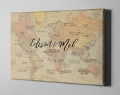 SALE 50% Off Canvas Guest Book, Rustic World Map Guest Book, Travel Theme Wedding Signatures, Unique Gift Ideas for Wedding Couples - CGB63
