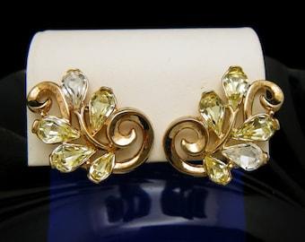 Vintage Crown Trifari Rhinestone Tears Earrings Gold Tone Clip Ons As Is