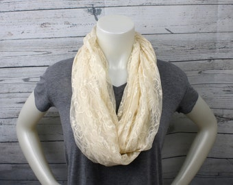Off White Lace Infinity Scarf, Extra Long Lace Loop Scarf