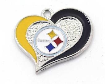 Pittsburgh Steelers Football Charm, Steelers Heart Charm
