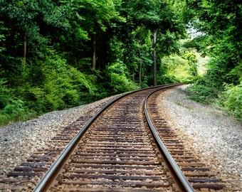 Railroad Track Photograph, Railroad Landscape in Black and White or Color,  Rustic Railroad Fine Art Print or Canvas Wrap