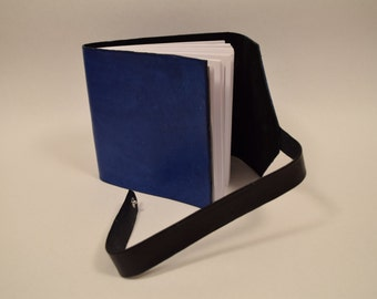 5x5 Travel Journal / Sketchbook with Blue Leather Exterior and Black Suede Lining