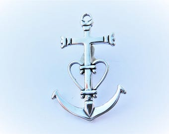 925 sterling silver anchor charm, silver large anchor, sterling silver anchor charm, silver sea life, silver anchor, anchor, anchor heart