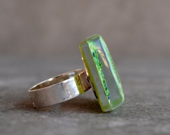 Green ring, Fused glass ring, Lime statement ring, Big ring, Square ring, Fused glass jewelry, Adjustable ring, Unique jewelry