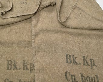 Pair Vintage European Grain Sacks from 1943 in Excellent Condition (X4285)