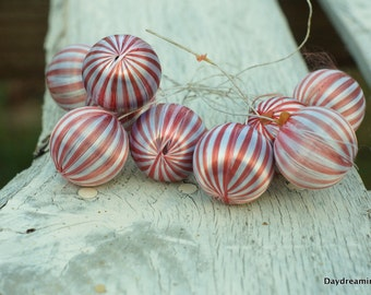Christmas Satin Ball 6 little Vintage red striped candy cane Holiday Kitschy Floral Supply Xmas crafting Red White satin wrapped corsage