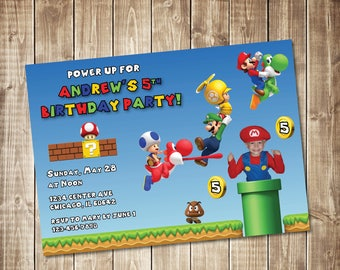Printable Super Mario Bros. Birthday Invitation