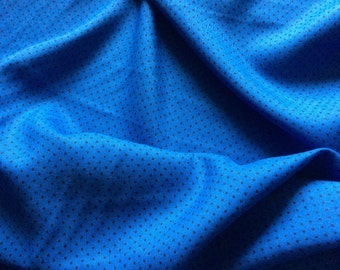 Scandinvian vintage fabric. 60s textile. Cotton blend, blue and black. Retro fabric, swedish design. Fabric with dots.