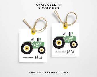 Vintage Tractor Thank You Tags (Personalised DIY Printables)