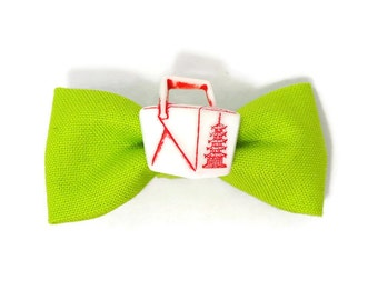 Green noodle box hair bow - Asian noodles hair accessory - take away hair clip - take out - novelty accessories