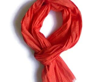 Spring accessories  Scarves and wraps Linen fabric Orange scarf