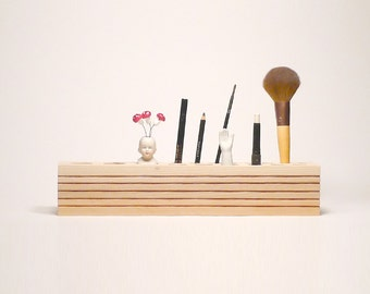Wood makeup organizer, Cosmetic Makeup, Organizer Brush Holder, Organizer Wood Countertop, makeup organizer, Gift for woman,