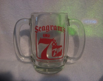 SEAGRAMS 7 UP MUG Double Handle Glass Anchor Hocking.